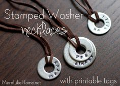 Stamped Washer Necklaces | Perhaps you could put a date on these as a wedding favour or something.