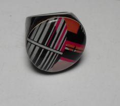 Black chunky Lucite ring, size 7, red white black geometric Lucite retro vintage plastic ring, retro hipster jewelry, Gingerslittlegems by GingersLittleGems on Etsy
