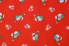 Cotton Fabric Ribbon Sewing Label Red Yellow Flower