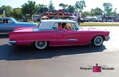 pink, ford, thunderbird, tbird, car, auto, vehicle, photography,  card, print, canvas, vintage, classic, (title: Penelope)