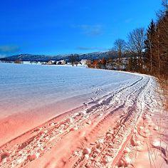 Hiking through a beautiful winter scenery. Aigen-Schlägl, Austria / Österreich