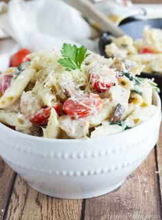 Simple Penne Pasta with a Lightened-up Parmesan Cream Sauce