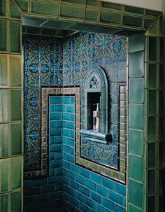 Exotic Tiled Walk-in Shower! LOVE the emerald green and turquoise!