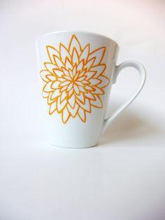 Hand Painted Orange Flowers Coffee Tea Beverage Mug OOAK. $16.00, via Etsy.