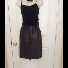 Black Leather Lambskin  Skirt Lambskin Leather skirt made by Mikai. Necklace sold separately Skirts Midi