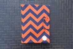 iPad Cover in Navy Orange Chevron Zig Zag by CraftyStitches