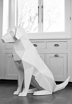 / geometric animal sculptures from ben foster / inspiration grid / design inspiration / Cardboard Sculpture, Dog Sculpture, Animal Sculptures, Paper Sculptures, Sculpture Projects, Papier Diy, Paper Animals, Cardboard Animals, Polygon Art