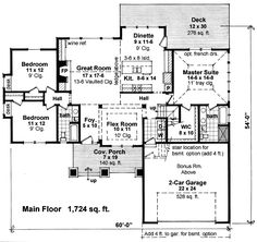 This one-story house plan gives you over 1,700 square feet of space to spread out in plus a bonus room option that gives you an additional 476 square feet of expansion space. With a full bath, it can be put to use as an extra bedroom just as easily as a home office or playroom.  From the foyer you have views straight through the home. The heart of the home is the vaulted great room with built-ins including a wine refrigerator.  The flex room can be used as a den or a formal dining room.