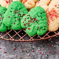 Nothing says the holidays like festive butter spritz cookies! Use a cookie press to make festive shapes for these buttery sugar cookies. Butter Spritz Cookies, Buttery Sugar Cookies, Soft Chocolate Chip Cookies, Traditional Christmas Cookies, Cookie Press, Christmas Traditions, Cookies Et Biscuits, Baking Soda, Festive
