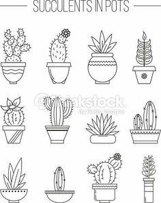 Clipart vectoriel : Set of succulent plants and cactuses in .- Clipart vectoriel : Set of succulent plants and cactuses in pots. Clipart vectoriel : Set of succulent plants and cactuses in pots. Doodle Drawings, Easy Drawings, Doodle Art, Cactus Drawing, Plant Drawing, Iris Drawing, Planting Succulents, Succulent Plants, Potted Plants
