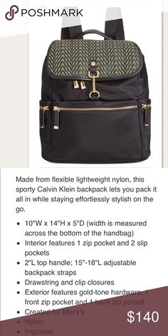 🎉 CALVIN KLEIN LIANNA PRINT BACK PACK Cute and chic backpack that holds more than it looks! I got so many compliments whenever I wore this. Unfortunately I'll have to give up all my bags and since I'll mostly be using my diaper bag soon 😭 had it for less than a year. No pet and no smoking home.  Still in excellent condition! This printed one is sold out at Macy's. Calvin Klein Bags Backpacks