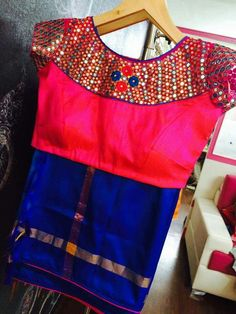 Top Beautiful Mirror work Blouse Designs Latest designs :- Mirror work blouse designs have become fashion now. When a mirror work blouse is combined with a plain saree it will give stunning a… Blouse Designs Catalogue, Simple Blouse Designs, Blouse Neck Designs, Blouse Patterns, Dress Designs, Mirror Work Saree Blouse, Mirror Work Blouse Design, Churidar Designs, Plain Saree