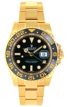 Discounted Model Rolex Oyster Perpetual GMT-Master II Watch yellow gold case, black 24 hour yellow gold bezel, green 24 hour hand, independent 12 h Rolex Gmt Master, Rolex Oyster Perpetual, Oysters, Gold Watch, Bracelet, Yellow, Green, Accessories, Black