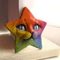 Rainbow Cat Art Doll Face Cab Kitty Animal Pet by graphixoutpost