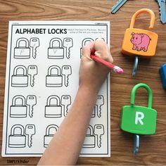 Alphabet Lock Center - Simply Kinder Motor Skills Activities, Letter Activities, Learning Activities, Lakeshore Learning, Kindergarten Classroom, Im Trying, Nursery Rhymes, Phonics, Literacy