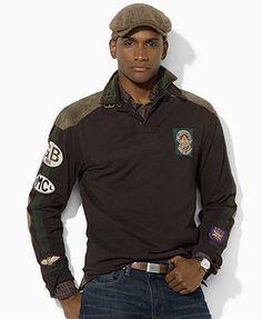 Ralph Lauren Shirt, Custom-Fit Utility Moto Rugby - Mens Polo Ralph Lauren - Macy's