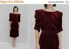 On Sale Vintage 80s Burgundy VELOUR Ruched by vintage2wearclothing