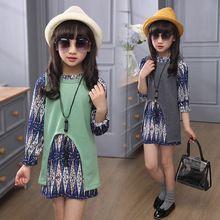 4 5 6 8 9 10 years girls clothes set 3pcs chiffon dress + knitting vest + necklace fashion autumn kids clothing set C16(China (Mainland))