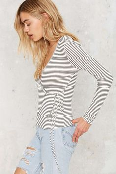 Down Tonight Wrap Top - Striped | Shop Clothes at Nasty Gal!