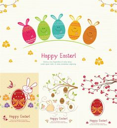 Set of 4 vectors with Easter decorative eggs, bunnies and flowers for your greeting cards, illustrations and other Easter designs.