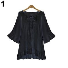 >> Click to Buy << Women Plus Size Loose Flare Sleeve Ruffled Hem Casual Off Shoulder Blouse Top #Affiliate