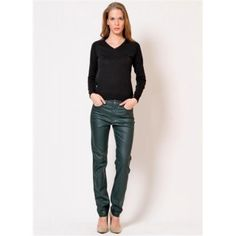 Angels Jeans Skinny Grün Leder Look