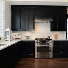 Black KItchen Cabinets with White Countertops, Transitional, kitchen, Jillian Harris