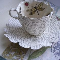 Paper Cup and Saucer with Butterflies by Cherry Tree Handmades