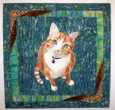 """""""The Eyes Have It""""  portrait quilt of my cat, Lucky.  (Made by me, Cindy Garcia)  www.cindygarciaquilts.com"""