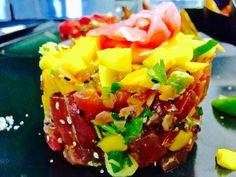 Tartare de thon asiatique  Mangue/concombre/avocat/graine de sésame/soja Pork, Ethnic Recipes, Sweet, Tuna Tartar, Cucumber, Mango, Avocado, Asian, Fish