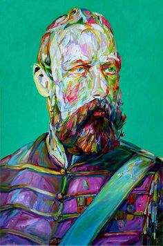 Los Angeles-based artist Aaron Smith's bearded portraiture combines rough brushstrokes and bright colors in this spectacular series. By using photographs of Victorian gentlemen, Smith re-imagines the men in vibrant colors with the thick impasto showing a modern sensibility. More after t