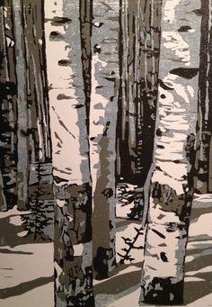 Pine Bow Shadows original woodblock print by LisaVanMeter on Etsy, $45.00
