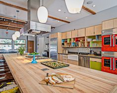 modern cabinets, butcher block countertop, sleek vent hood, exposed beams, gray walls