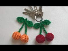 Amigurumi kirazlı anahtarlık #anahtarlıkyapımı #örgüanahtarlık anahtarlık nasıl yapılır - YouTube Felt Keyring, Crochet Keychain, Crochet Earrings, Baby Knitting Patterns, Crochet Fruit, Crochet Flowers, Crochet Embellishments, Felt Bunny, Crochet Dolls