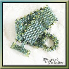 Blue Green Peyote Bracelet / Beadweaving / by WrappedToPerfection, $54.50