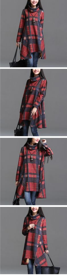 2015 inverno moda mulheres roupas de manga comprida xadrez elegante Casual vestido de algodão assentamento solto Plus Size vestidos em Vestidos de Roupas e Acessórios no AliExpress.com | Alibaba Group                                                                                                                                                     Mais