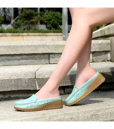 Women's #blue easy leather slip on shoe #loafers, hollow out, carving, Round toe design , casual, leisure occasions.