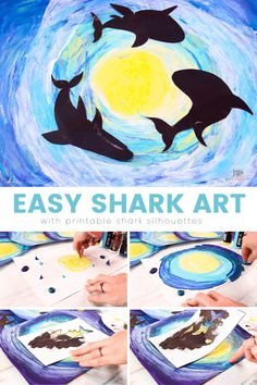 Explore the deep dark ocean with our Easy Shark Art project for kids and Printable Shark Silhouettes, using the scrape painting technique to create an under the sea background. Abstract Art For Kids, Painting For Kids, Projects For Kids, Art Projects, Under The Sea Background, Shark Silhouette, Under The Sea Crafts, Scrape Painting, Shark Art
