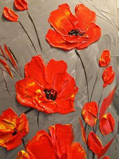 Original Contemporary modern impasto abstract art acrylic on canvas painting Title....Dusk Poppies Textured background in shades of gray with thick impasto vivid red poppies on top. Dimensions: 36 x 12 x 3/4 Free shipping!! High quality gallery wrapped canvas with back staples, edges painted black - Ready to hang on wall I use only the finest quality high grade acrylic /oil paints and gallery wrap or gallery wrap style canvas(has staples at the back),ready to hang so that ...