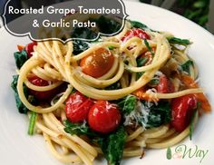 Roasted grape tomatoes and garlic pasta tossed with greens is a quick meal that's delicious and will be a family favorite. #quick_pasta, #roasted_tomatoes, #garlic_pasta, #arugula, #baby_spinach #easy_weeknight_meal, #Italian_pasta