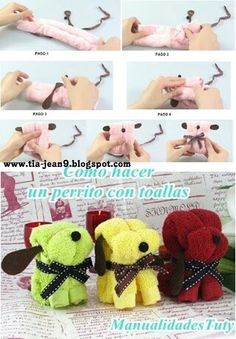 You will love to learn how to make a washcloth teddy bear and it makes the perfect baby shower gift. Baby Crafts, Easter Crafts, Towel Origami, Origami Art, Craft Projects, Sewing Projects, Towel Animals, How To Fold Towels, Baby Washcloth