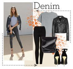 """""""Fall Denim"""" by oojyosan ❤ liked on Polyvore featuring Dunn, T By Alexander Wang, Topshop, Yves Saint Laurent, Balmain and Jil Sander"""