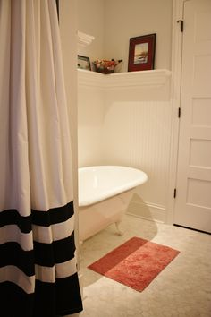 love the shelving, shower curtain and the tub. Add a coral or teal memory foam bath mat & we are good to go!