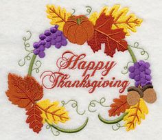 Happy Thanksgiving Wreath Machine Embroidery Designs at Embroidery Library! - Free Machine Embroidery Designs