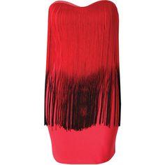 Rare London Dip Dye Fringe Bandeau Dress ($23) ❤ liked on Polyvore