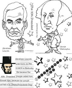 free printable presidents day worksheet set featuring abraham lincoln george washington word games - George Washington Coloring Page