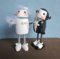 Robotic Love Wedding Cake Topper