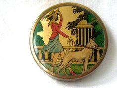 Art Deco Foil Backed Lady with Borzoi Picture Powder Compact C1940 | eBay