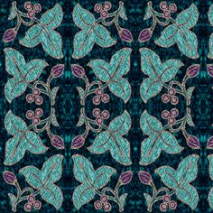 Mirrored-NEW2sprigs2014-2015-9sept14-4in-200-embroidery-BLACK fabric by mina on Spoonflower - custom fabric