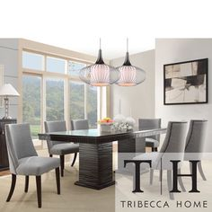 Tribecca Home Dominic Espresso Mid-century Modern 7-piece Upholstered Dining Set